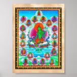 Cool oriental tibetan thangka Green Tara  tattoo Poster
