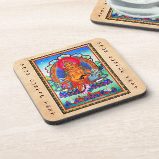 Cool oriental tibetan thangka Jambhala tattoo art Drink Coaster
