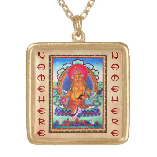 Cool oriental tibetan thangka Jambhala tattoo art Square Pendant Necklace