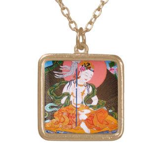 Cool oriental tibetan thangka mandarava tattoo art gold plated necklace