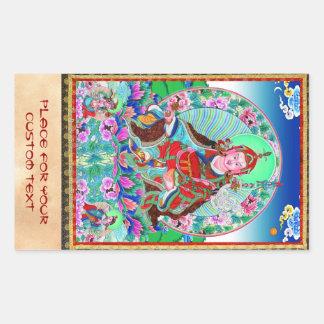 Cool oriental tibetan thangka Padmasambhava Rectangular Sticker