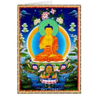 Cool oriental tibetan thangka Prabhutaratna Buddha Cards