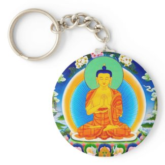 Cool oriental tibetan thangka Prabhutaratna Buddha Key Chains