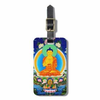 Cool oriental tibetan thangka Prabhutaratna Buddha Tags For Bags