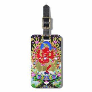 Cool oriental tibetan thangka Red Jambhala tattoo Travel Bag Tag