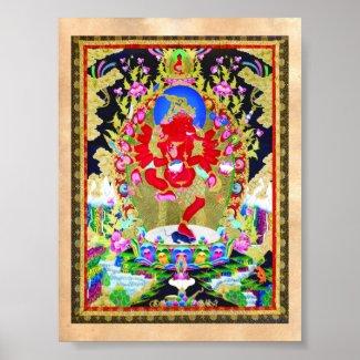 Cool oriental tibetan thangka Red Jambhala tattoo Posters