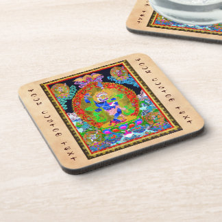 Cool oriental tibetan thangka Simhavaktra Dakini Coasters