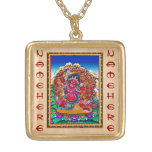 Cool oriental tibetan thangka tattoo Hayagriva Square Pendant Necklace