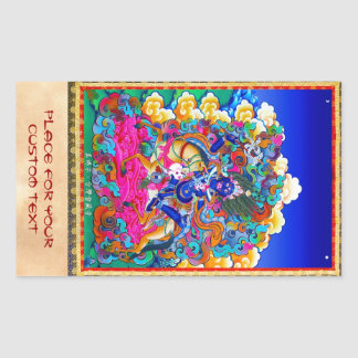 Cool oriental tibetan thangka tattoo Palden Lhamo Rectangular Sticker
