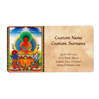 Cool oriental tibetan thangka Three Major Saints Shipping Label