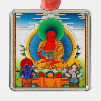 Cool oriental tibetan thangka Three Major Saints Metal Ornament