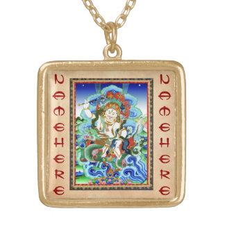 Cool oriental tibetan thangka White Jambhala Gold Plated Necklace