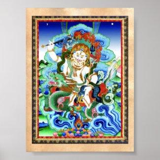 Cool oriental tibetan thangka White Jambhala Posters