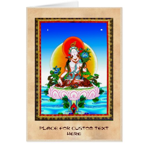Cool oriental tibetan thangka White Tara tattoo Card
