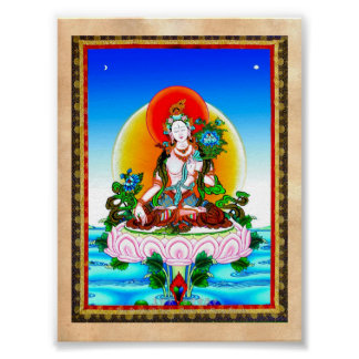 Cool oriental tibetan thangka White Tara tattoo Poster