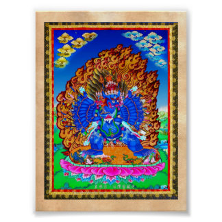 Cool oriental tibetan thangka Yamantaka tattoo Poster