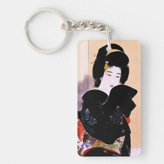Cool oriental traditional japanese geisha lady art keychain