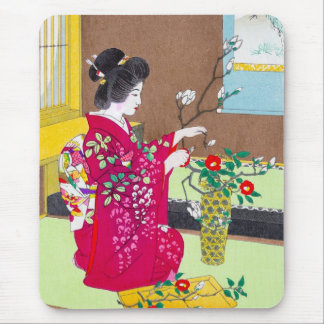 Cool oriental traditional japanese geisha lady art mouse pad