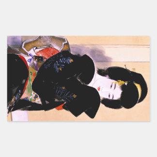 Cool oriental traditional japanese geisha lady art rectangular sticker