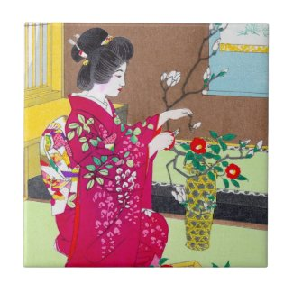Cool oriental traditional japanese geisha lady art ceramic tile