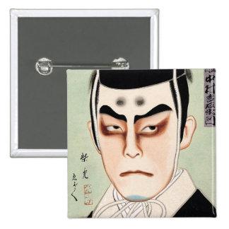 Cool oriental traditional japanese kabuki man buttons
