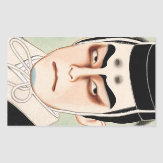 Cool oriental traditional japanese kabuki man rectangular sticker