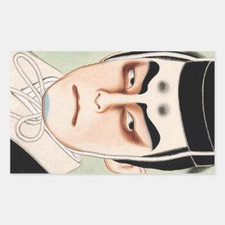 Cool oriental traditional japanese kabuki man rectangular sticker