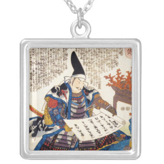Cool oriental traditional japanese warrior art silver plated necklace