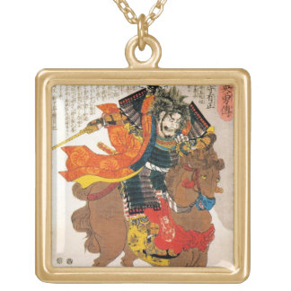 Cool oriental traditional japanese warrior samurai gold plated necklace