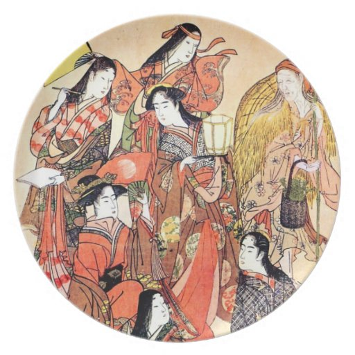 Cool Oriental Traditional Japanese Woman Party Plates