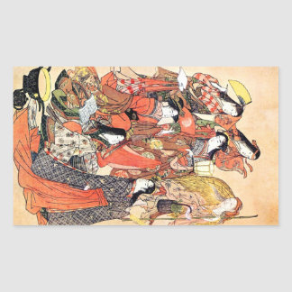 Cool Oriental Traditional Japanese Woman Rectangular Sticker