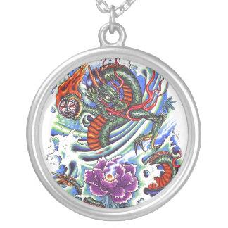Cool Oriental Water Dragon Lotus Round Pendant Necklace