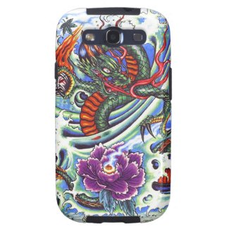 Cool Oriental Water Dragon Lotus tattoo Galaxy S3 Case