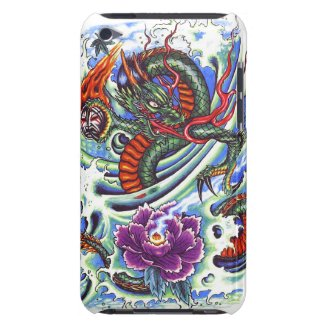 Cool Oriental Water Dragon Lotus tattoo iPod Case-Mate Case