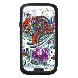 Cool Oriental Water Dragon Purple Lotus tattoo Galaxy SIII Cover