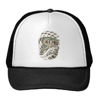 Cool Oriental Water Snake Tattoo Mesh Hats