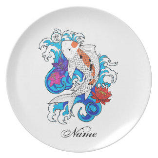 Cool Oriental White Koi Carp Fish Lotus Flowers Plate