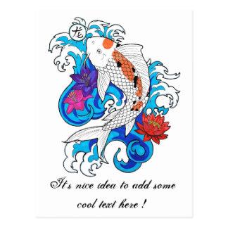 Cool Oriental White Koi Carp Fish Lotus Flowers Post Cards