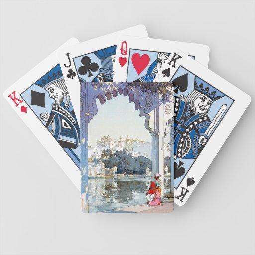 Cool oriental Yoshida Hiroshi udaipur Palace art Bicycle Poker Cards