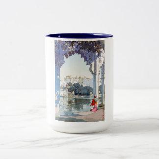 Cool oriental Yoshida Hiroshi udaipur Palace art Two-Tone Coffee Mug