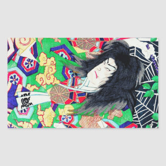 Cool oriental Yoshitoshi Kabuki Actor japan art Rectangular Sticker