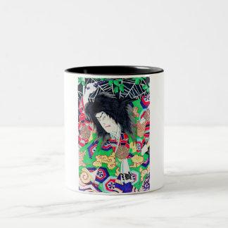 Cool oriental Yoshitoshi Kabuki Actor japan art Two-Tone Coffee Mug