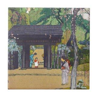 Cool orintal japanese Yoshida Temple Shrine Gate Ceramic Tile