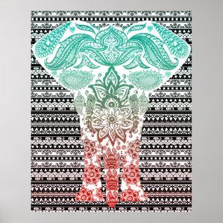 Cool Ornamental Elephant Art Poster
