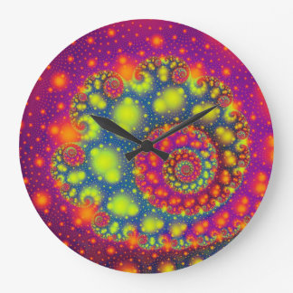 Cool Out Of This World Colorful Fractal Design Wallclocks