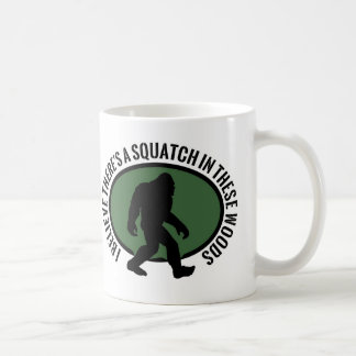 Cool Oval Squatch In These Woods Classic White Coffee Mug