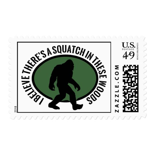 Cool Oval Squatch In These Woods Postage
