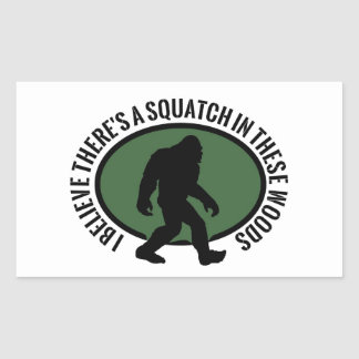 Cool Oval Squatch In These Woods Rectangle Stickers