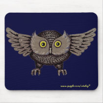 Cool owl graphic art mousepad design