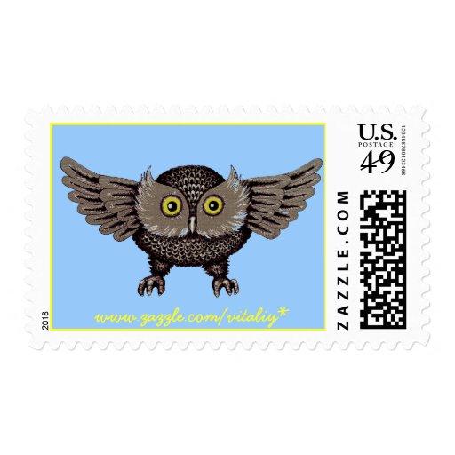Cool owl graphic art stamp design